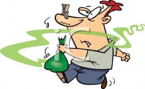 0511-1004-3017-5247_Cartoon_of_a_Guy_Taking_Smelly_Garbage_Out_clipart_image